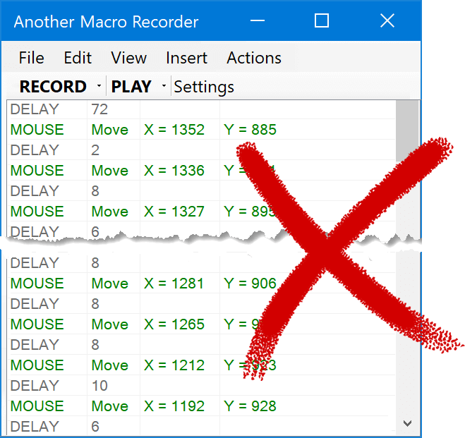 Macro Recorder does not create large mouse coordinate dumps, that are difficult to edit.