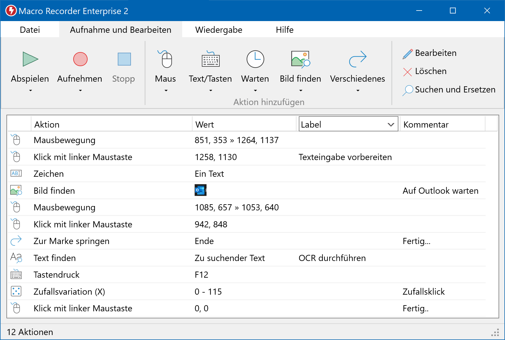 Macro Recorder für Windows - Programmfenster
